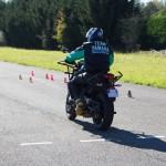 Départ en moto sur le parcours rapide