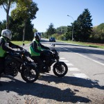 Départ en moto du plateau à Cernay